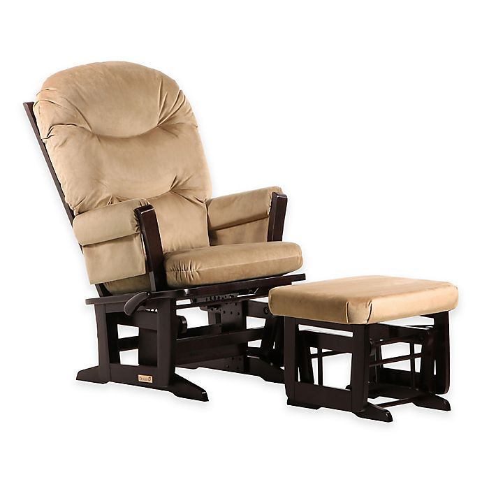 Alternate image 1 for Dutailier® Ultramotion Round Back Modern Glider and Nursing Ottoman in Espresso/Light Brown