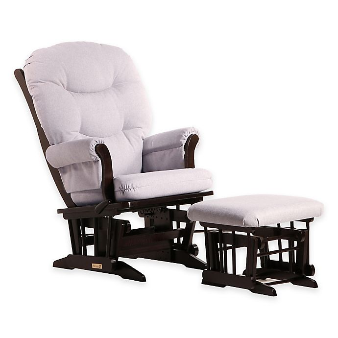 Alternate image 1 for Dutailier® Ultramotion Sleigh Glider and Ottoman in Espresso/Light Grey