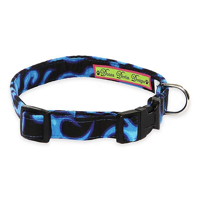 Alternate image 1 for Donna Devlin Designs® Large Blue Flame Adjustable Dog Collar in Blue/Black