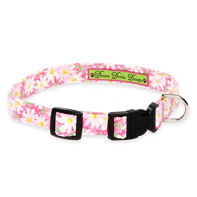 Alternate image 1 for Donna Devlin Designs® Extra Small Garden Party Adjustable Dog Collar in Pink