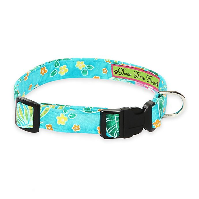 Alternate image 1 for Donna Devlin Designs Large Tropical Punch Adjustable Dog Collar in Blue