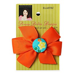 Donna Devlin Designs® Tropical Punch Elastic Pet Bow in Orange/Aqua