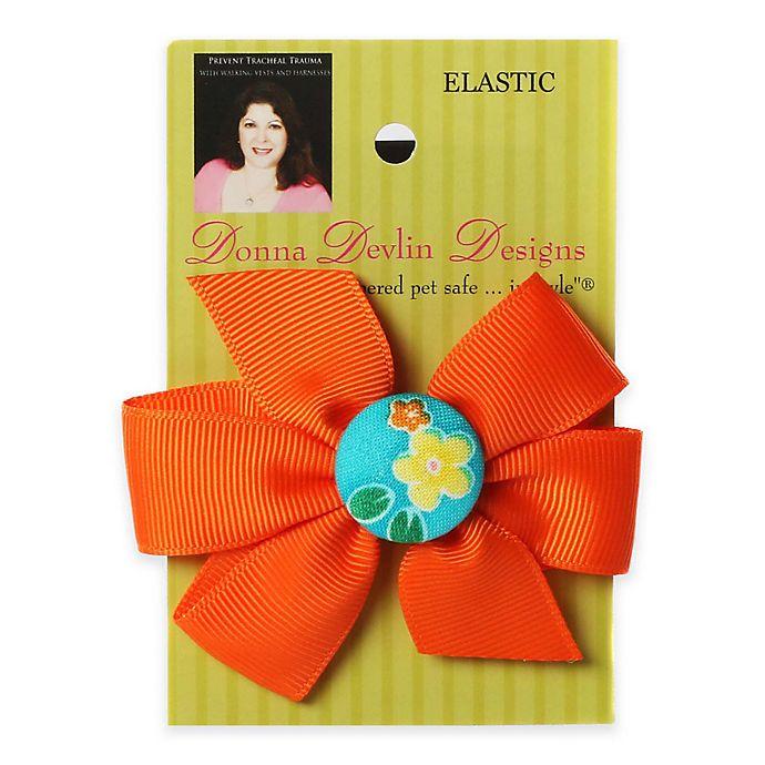 Alternate image 1 for Donna Devlin Designs® Tropical Punch Elastic Pet Bow in Orange/Aqua