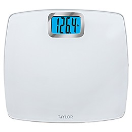 Taylor Glass Digital Bathroom Scale with Bright White Platform