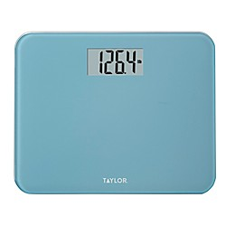 Taylor Digital Glass Compact Bathroom Scale in Spa Blue