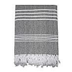 Traditional Turkish Cotton Pestemal Bath Sheet in Grey/White