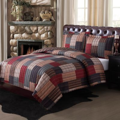 Gunnison Quilt Set In Brown Red Blue Bed Bath Amp Beyond