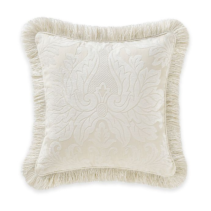 Alternate image 1 for Waterford® Linens Paloma Cascade Damask Square Throw Pillow in Ivory