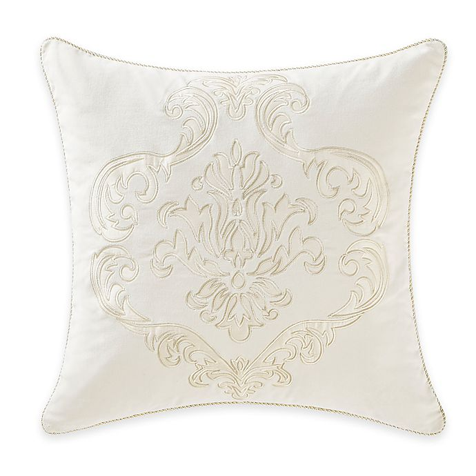 Alternate image 1 for Waterford® Linens Paloma Cascade Applique Square Throw Pillow in Ivory