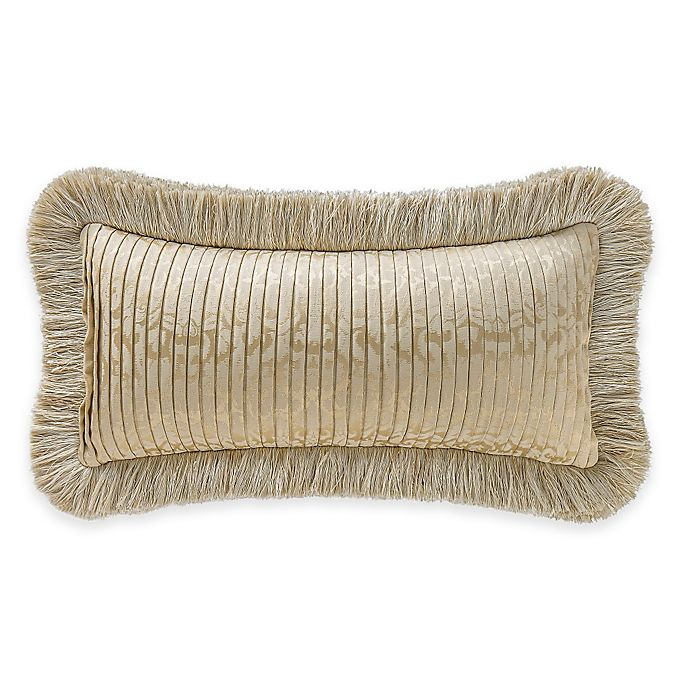 Alternate image 1 for Waterford® Linens Marcello Pleated Damask Oblong Throw Pillow in Gold
