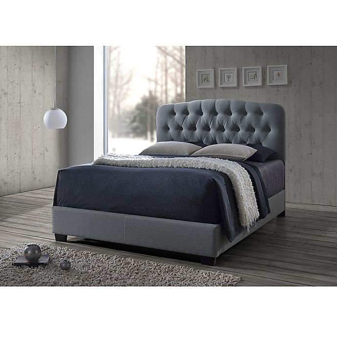 Alternate image 1 for Baxton Studio Romeo Button Tufted Upholstered Bed