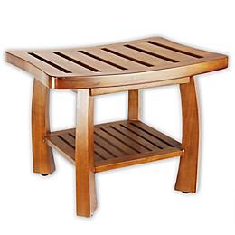 Solid Wood Spa Shower Bench with Storage Shelf in Teak