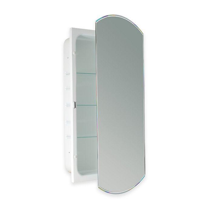 Recessed Beveled Mirrored Medicine Cabinet In White