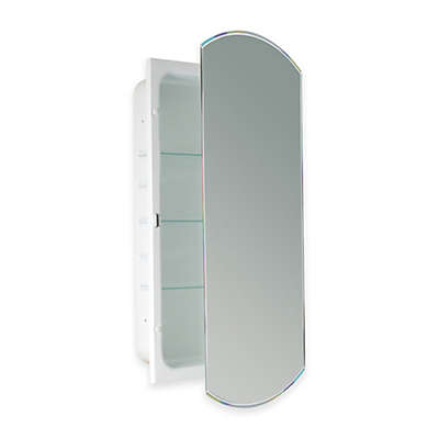 Recessed Beveled Recessed Mirrored Medicine Cabinet in White