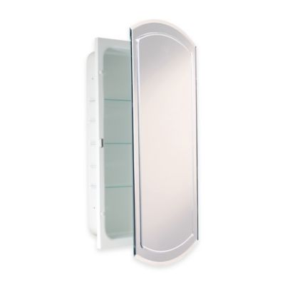 quality design d699f 2810e Recessed V-Groove Beveled Recessed Mirrored Medicine Cabinet in White