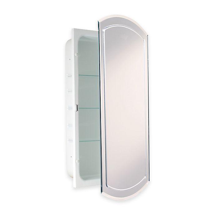 recessed v groove beveled recessed mirrored medicine cabinet in white bed bath beyond. Black Bedroom Furniture Sets. Home Design Ideas