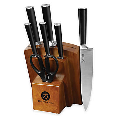 Chikara 8-Piece Cutlery Set with Wood Block in Toffee