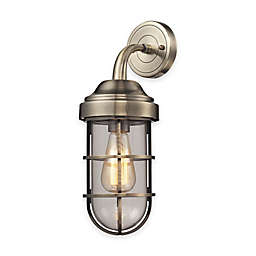 Elk Lighting Seaport 16-Inch 1-Light Wall-Mount Sconce with Steel Cage Shade