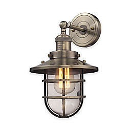Elk Lighting Seaport 13-Inch 1-Light Wall-Mount Sconce with Steel Cage Shade