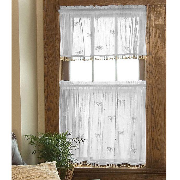 Dragonfly Window Curtain Tier With Trim