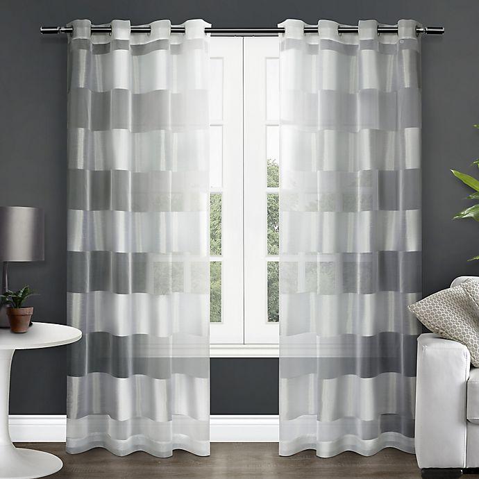 Alternate image 1 for Navaro 84-Inch Stripe Sheer Grommet Top Window Curtain Panel Pair in White
