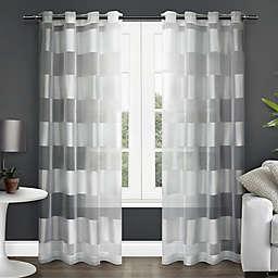 Navaro 84-Inch Stripe Sheer Grommet Top Window Curtain Panel Pair in White