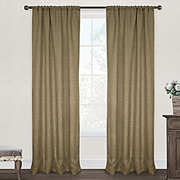 Burlap Rod Pocket Window Curtain Panel Pair in Natural