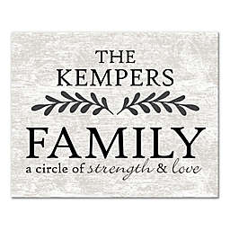"""Family a Circle of Strength and Love"" Canvas Wall Art"