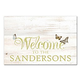 Butterfly Welcome Sign Canvas Wall Art