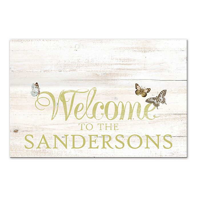 Alternate image 1 for Butterfly Welcome Sign Canvas Wall Art