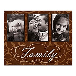 Brown Damask Family Photo Collage Canvas Wall Art
