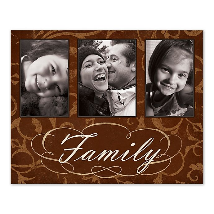 Alternate image 1 for Brown Damask Family Photo Collage Canvas Wall Art