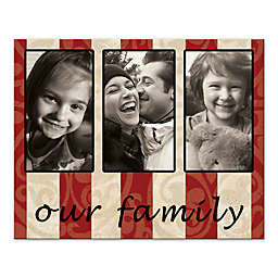"""Our Family"" Striped Canvas Wall Art"
