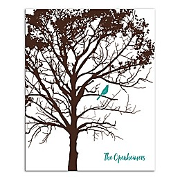Pied Piper Creative Turquoise Bird Family Sign Canvas Wall Art