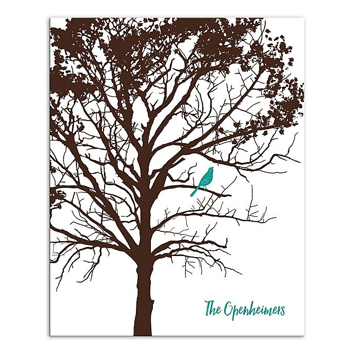 Alternate image 1 for Pied Piper Creative Turquoise Bird Family Sign Canvas Wall Art