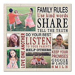 Family Rules Photo Collage Canvas Wall Art