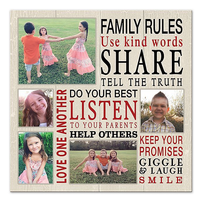 Alternate image 1 for Family Rules Photo Collage Canvas Wall Art