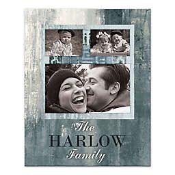 Family Photo Collage Canvas Wall Art in Dusty Blue