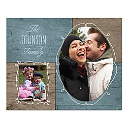 Family Photo Collage Canvas Wall Art in Wood Grain