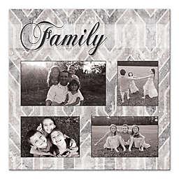 Grey Geometric Family Photo Canvas Wall Art
