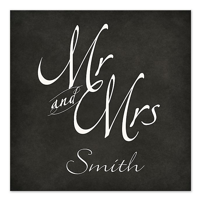 Alternate image 1 for Mr. and Mrs. Chalkboard Script 20-Inch x 20-Inch Personalized Canvas Wall Art