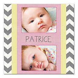 Chevron Baby 12-Inch x 12-Inch Personalized Canvas Wall Art in Grey/Pink