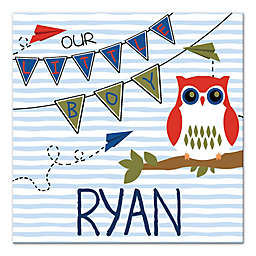 """Owl """"Our Little Boy"""" 16-Inch x 16-Inch Personalized Wall Art"""