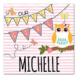 """Owl """"Our Little Girl"""" 16-Inch x 16-Inch Personalized Wall Art"""