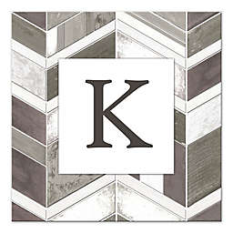 Chevron Letter Canvas Wall Art in Greige