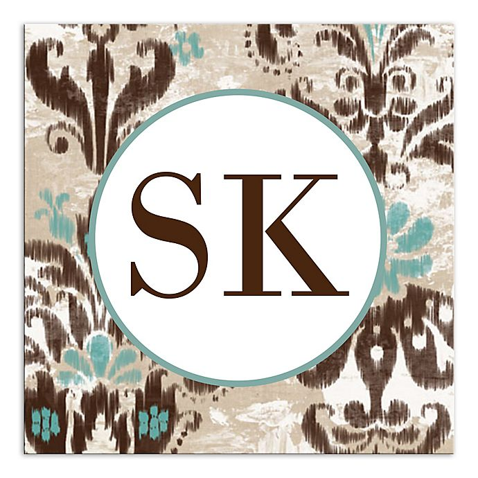 Alternate image 1 for Damask Monogram Canvas Wall Art in Brown/Turquoise
