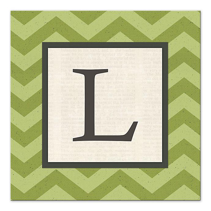 Alternate image 1 for Green Chevron Letter Canvas Wall Art