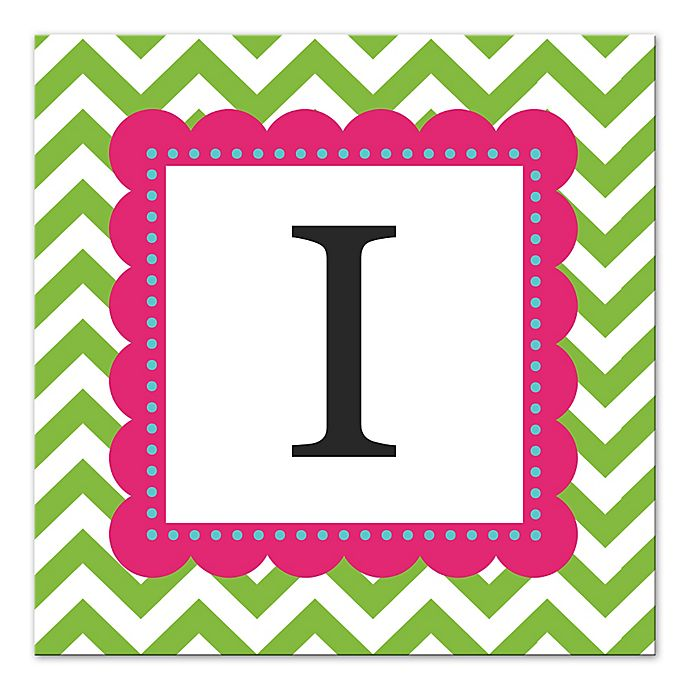 Alternate image 1 for Green And Pink Chevron Letter Canvas Wall Art