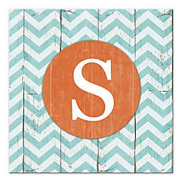 Blue And White Chevron Letter Canvas Wall Art