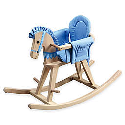 Teamson Kids Toddler Rocking Horse in Natural/Blue